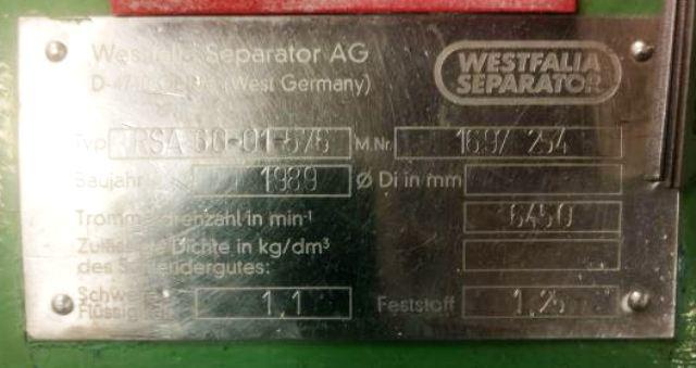 (2) Westfalia RSA 60-01-576 vegetable oil separators, 316SS.