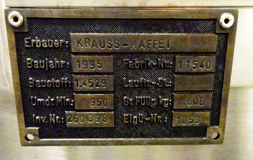 (3) Krauss-Maffei VZO-125/3.2C perforate basket centrifuges, Incoloy 926.