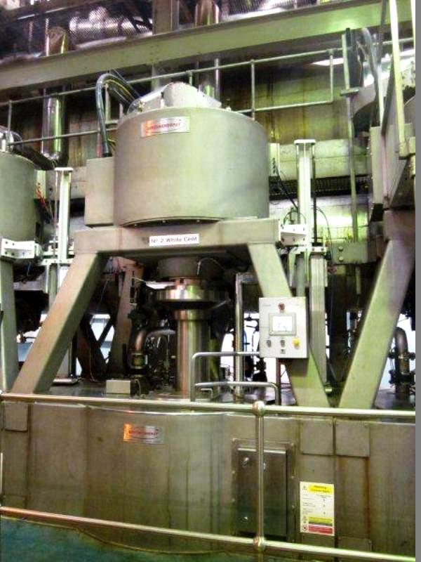 (3) Broadbent C54M sugar massecuite batch centrifuges, SS.