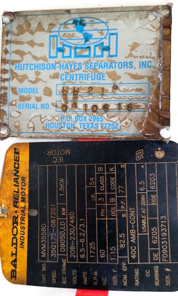 (3) Hutchison-Hayes HH-219 oil purifiers, SS bowl.