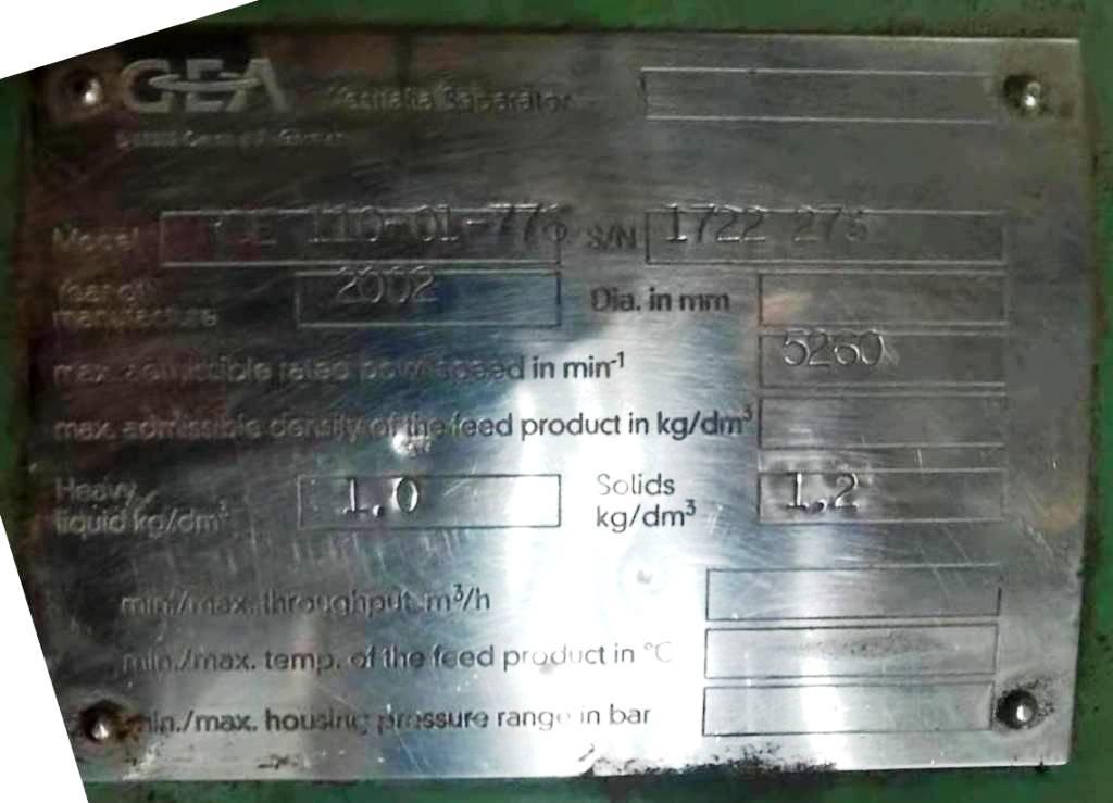 (2) Westfalia RSE 110-01-776 vegetable oil separators, 316SS.