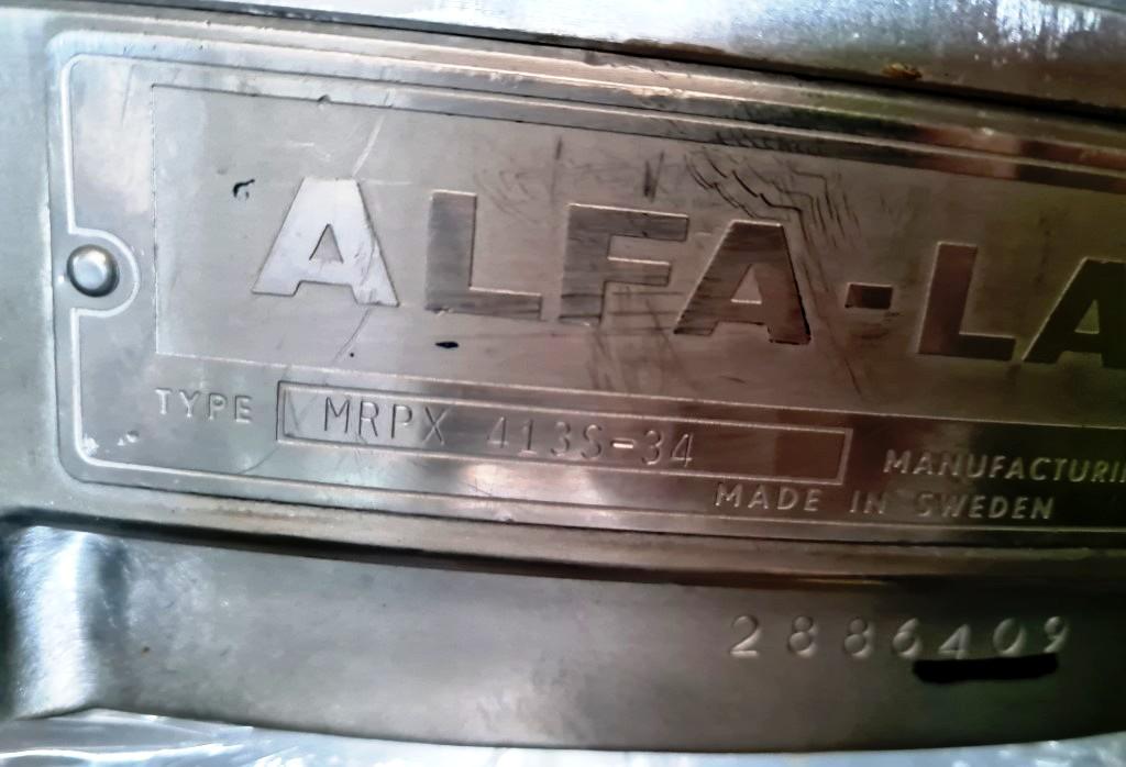 Alfa-Laval MRPX 413S-34 clarifier centrifuge, 316SS.