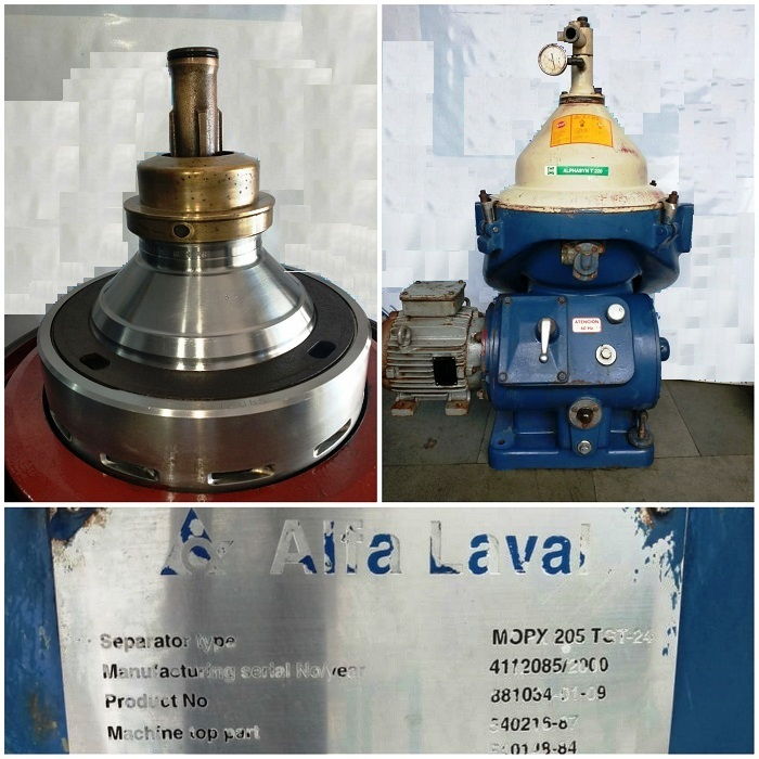 (3) Alfa-Laval MOPX 205 TGT-24-60 oil purifiers, SS bowl.