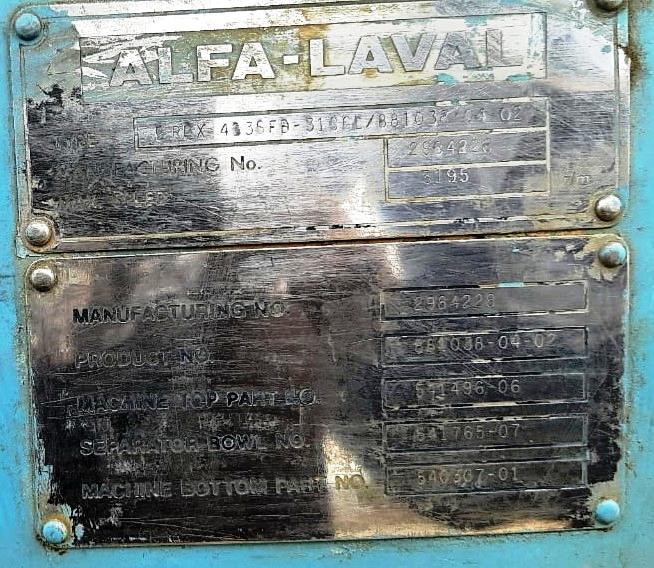 Alfa-Laval BRPX 413 SFD-31CGL clarifier centrifuge, SS.