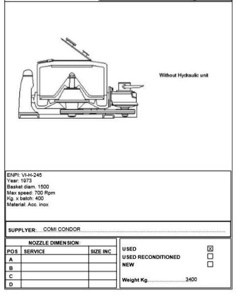 (2) Comi-Condor perforate basket centrifuges, 316SS.