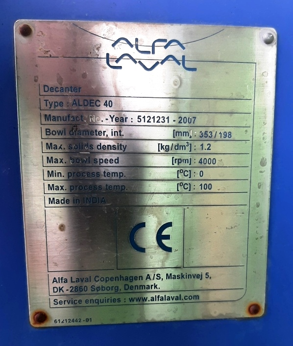 Alfa-Laval ALDEC 40 decanter centrifuge, 316SS.