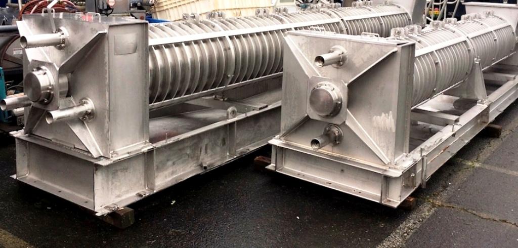 (2) FKC HX-550 screw presses for fish dewatering, 304SS.