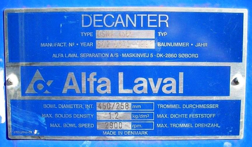 Alfa-Laval DSNX 4585 decanter centrifuge, 316SS.