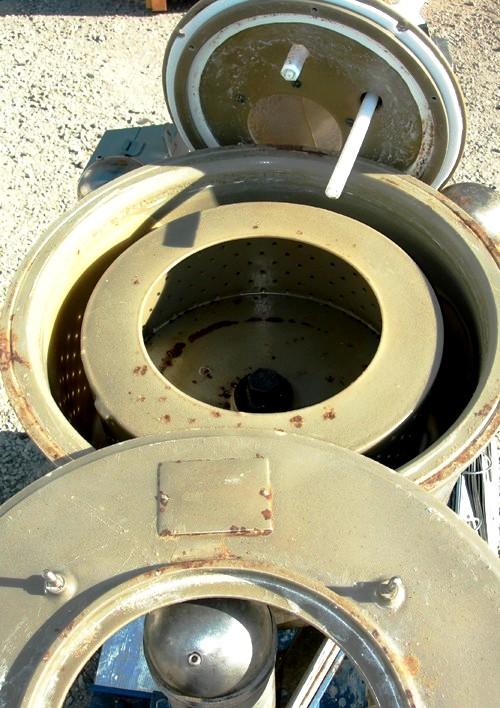 Ametek 12 x 5 perforate basket centrifuge, Kynar-lined.
