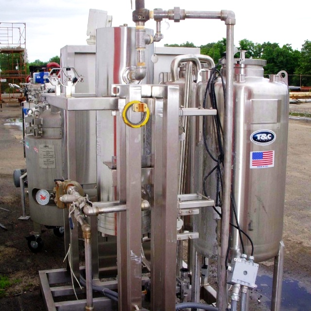 (2) T & C Stainless 120 liter SS reactors on CIP skid.
