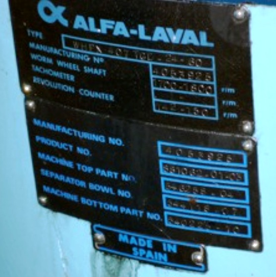 Alfa-Laval WHPX 407 TGD-24-60 oil purifier, 316SS.