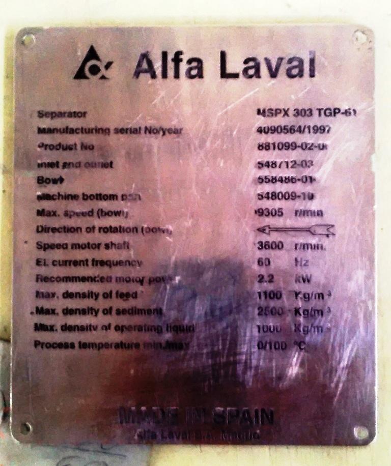 Alfa-Laval MSPX 303 TGP-61 mud separator.