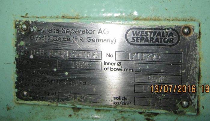 (2) Westfalia OSB 35-0136-066 oil purifiers, SS.