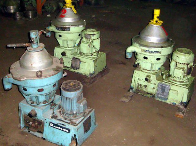 (2) Alfa-Laval MMPX 304 SGP-11-60 oil purifiers, 316SS.