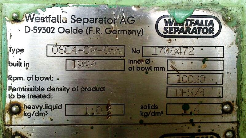 (2) Westfalia OSC 4-02-066 fuel oil purifiers, SS.
