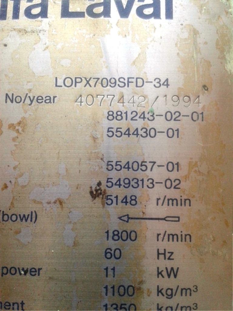 (6) Alfa-Laval LOPX 709 SFD-34 lube oil purifiers, SS.