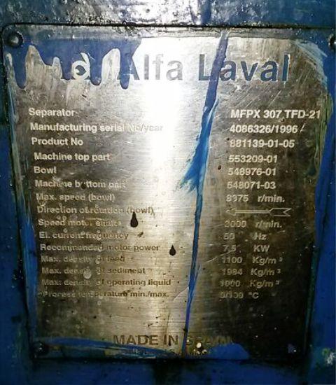 Alfa-Laval MFPX 307 TFD-21 oil purifier, 316SS.