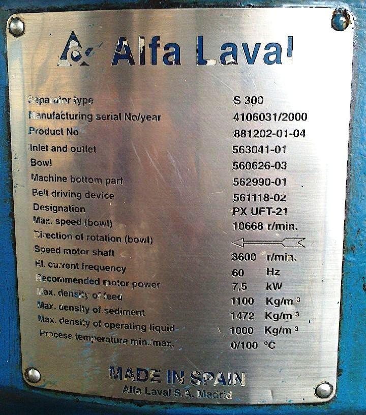 Alfa-Laval SU-300 fuel/lube oil purifier, 316SS.