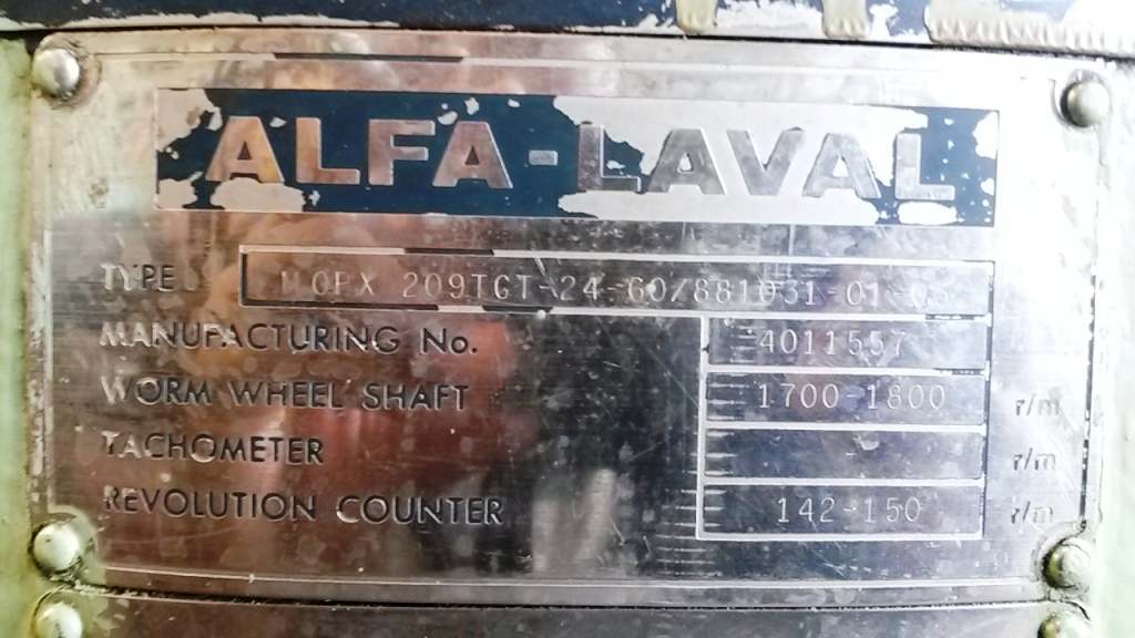 (2) Alfa-Laval MOPX 209 TGT-24-60 oil purifiers, SS.