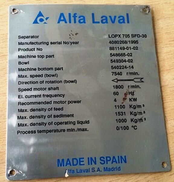 (2) Alfa-Laval LOPX 705 SFD-30 clarifiers, SS.
