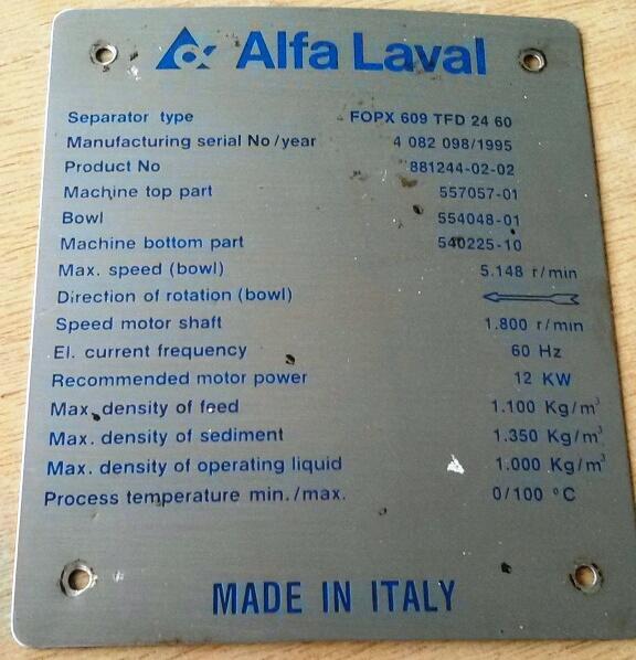 (2) Alfa-Laval FOPX 609 TFD-24-60 oil purifiers, SS.