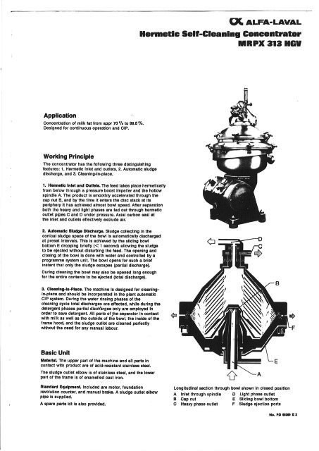 Alfa-Laval MRPX 313 HGV-14H milk fat concentrator, 316SS.