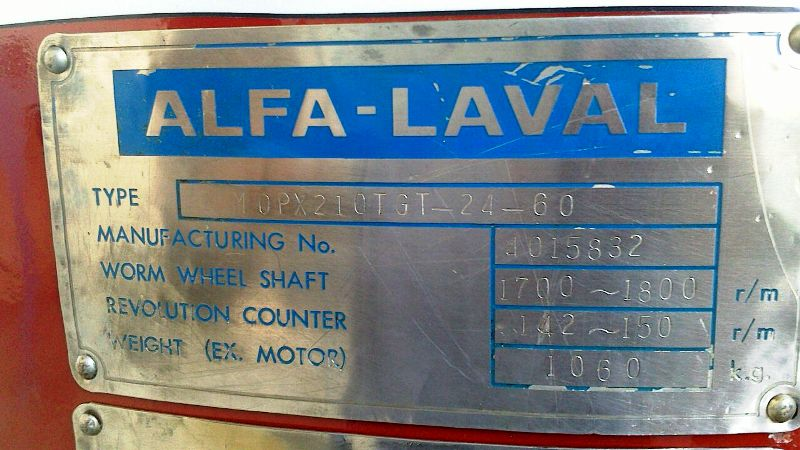 Alfa-Laval MOPX 210 TGT-24-60 oil purifier, SS.
