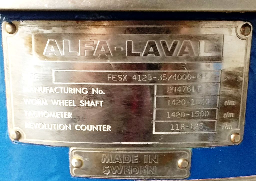 Alfa-Laval FESX 412B-35 nozzle centrifuge, 316SS.
