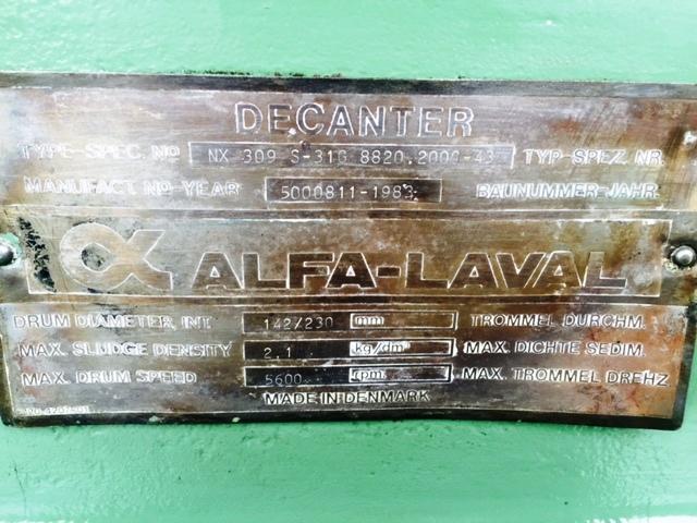 Alfa-Laval NX 309S-31G decanter centrifuge, 316SS.