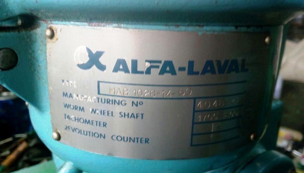Alfa-Laval MAB 102B-14-60 oil purifier, SS bowl.