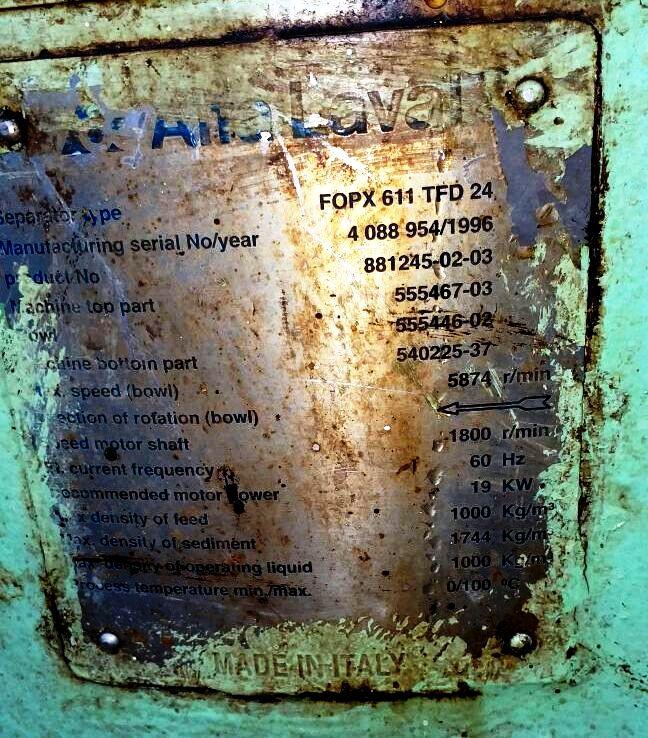Alfa-Laval FOPX 611 TFD-24-60 oil purifier, SS.