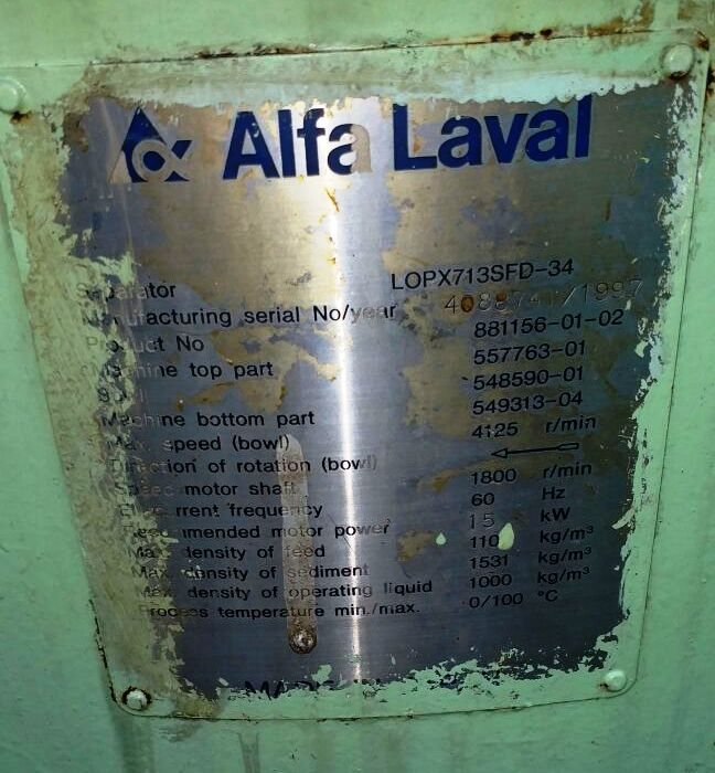 Alfa-Laval LOPX 713 SFD-34-60 lube oil purifiers, SS.