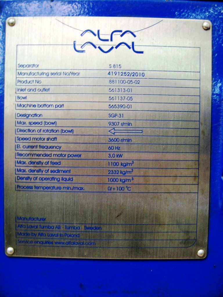Alfa-Laval S-815 ALCAP fuel/lube oil clarifier, 316SS.