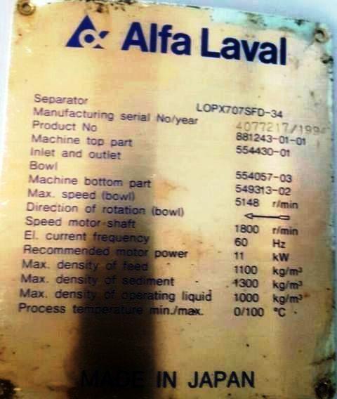 (2) Alfa-Laval LOPX 707 SFD-34 clarifiers, SS.