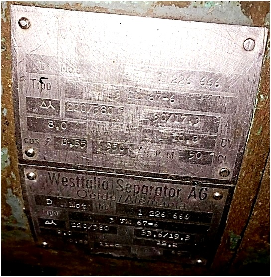 (3) Westfalia OSM 8004 solid bowl separators, 316SS.
