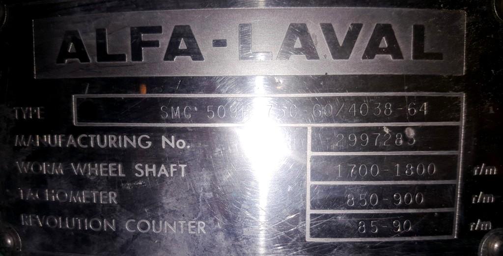 Alfa-Laval SMG 509H-75C-60 hermetic separator, 316SS.