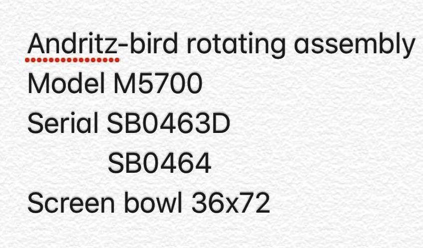 (2) Bird 36 x 72 screen bowl rotating assemblies, Nickel 200.