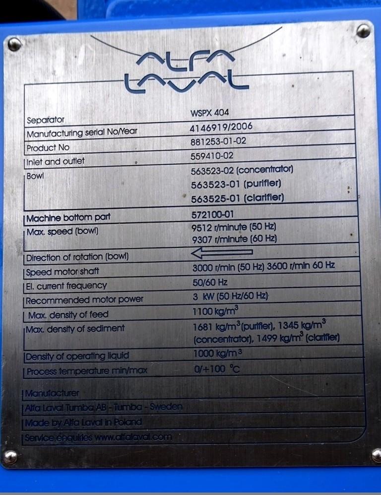 Alfa-Laval WSPX 204 SGP-71G concentrator, 316 SS.