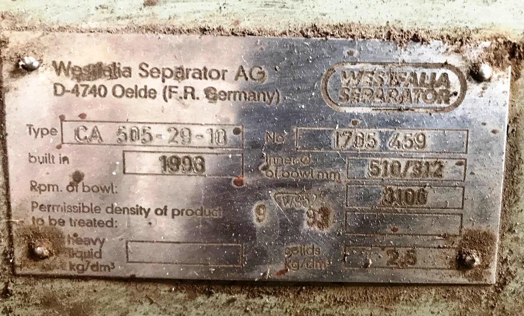 (3) Westfalia CA 505-29-10 extraction decanters, 316SS.
