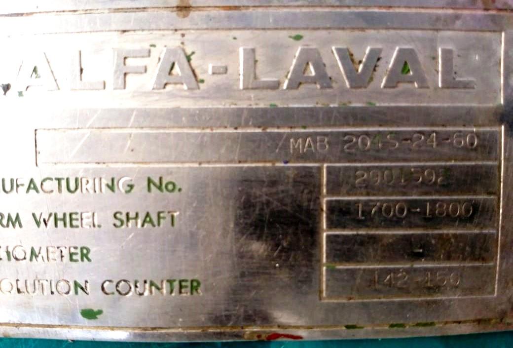 Alfa-Laval MAB 204S-14-60 oil purifier, SS.
