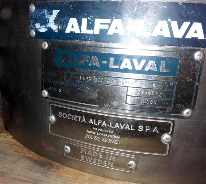 Alfa-Laval LAPX 202 BGT-24F lab separator, 316SS.