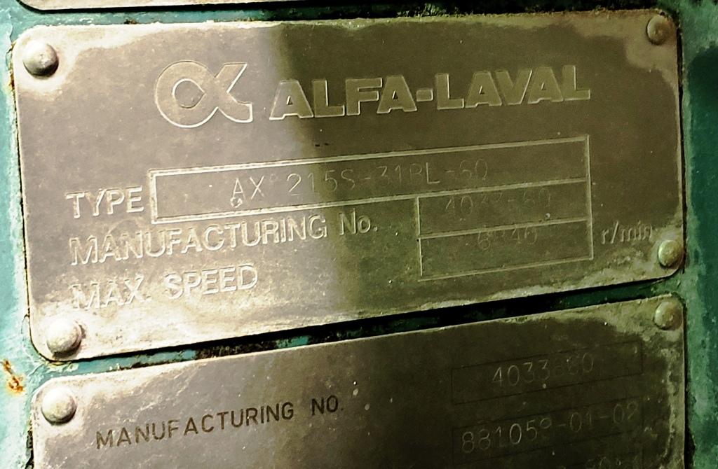 Alfa-Laval AX 215S-31BL-60 hermetic ultra-clarifier, 316SS.