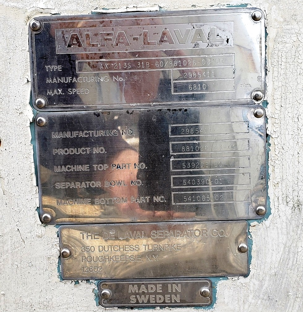 Alfa-Laval AX 213S-31B-60 ultra-clarifier, 316SS.