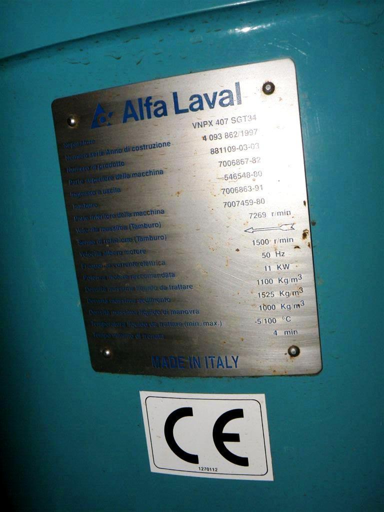 Alfa-Laval VNPX 407 SGT-34 wine clarifier, 316SS.