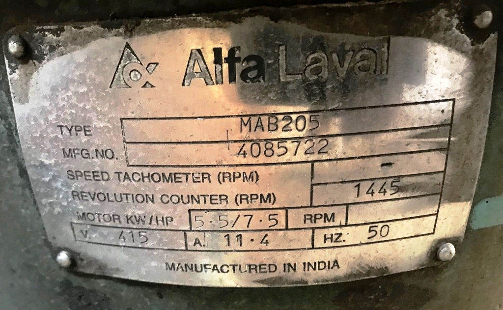(2) Alfa-Laval MAB 205S-24-60 oil purifiers, SS.