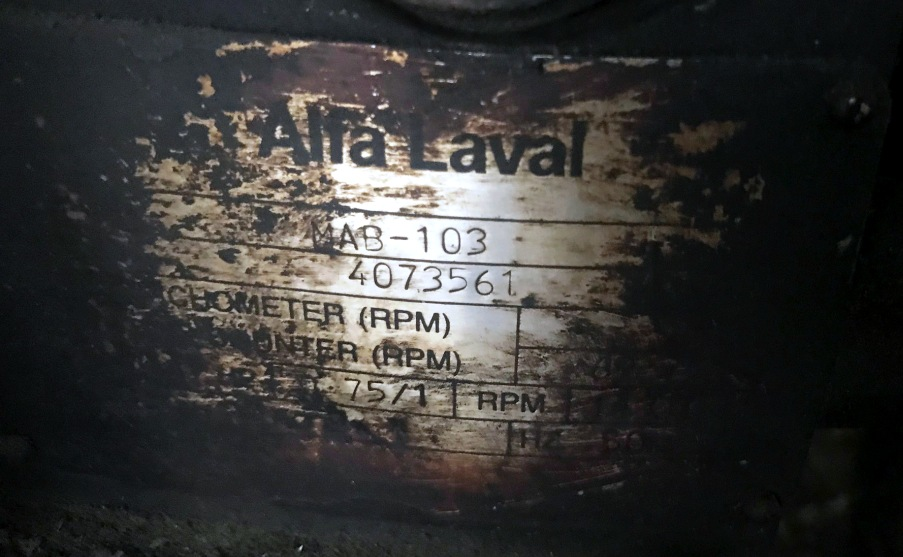 (2) Alfa-Laval MAB 103B-24-60 oil purifiers, SS bowl.