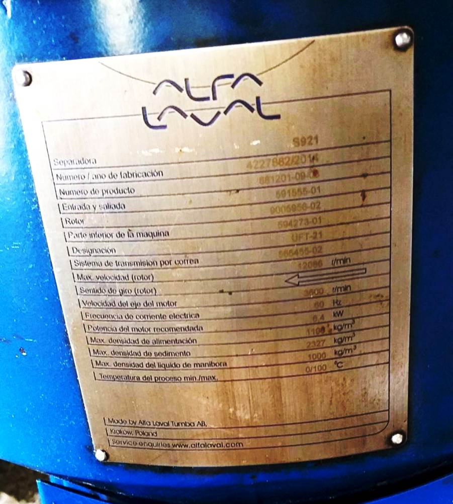 Alfa-Laval S-921 fuel/lube oil purifier, 316SS.