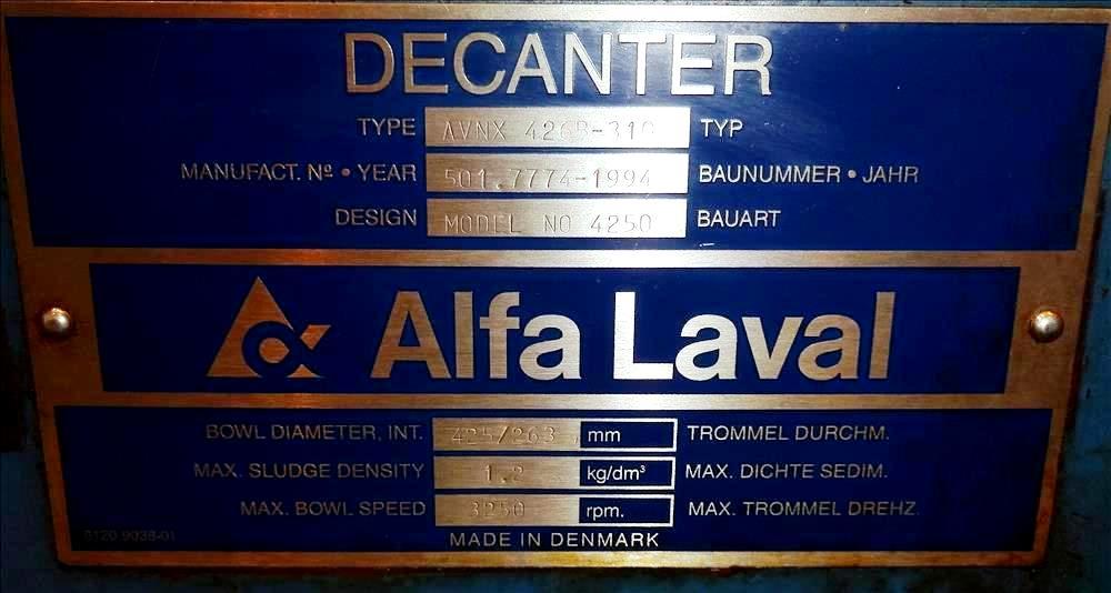 Alfa-Laval AVNX 426B-31G (PM-36,000) decanter centrifuge, 316SS.