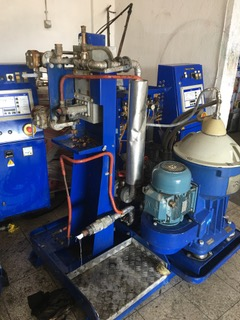 (2) Alfa-Laval S-821 fuel/lube oil purifier skids, 316SS.