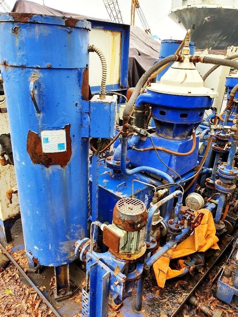 (3) Alfa-Laval P-605 SGP-11 lube oil purifier modules, SS.